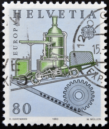 forcer: SWITZERLAND - CIRCA 1983: stamp printed in Switzerland shows Cog railway, circa 1983 Stock Photo