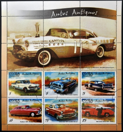 CUBA - CIRCA 2002: stamps printed in Cuba shows retro car, circa 2002
