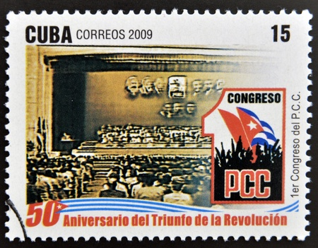 CUBA - CIRCA 2009: A stamp printed in cuba dedicated to 50 anniversary of the triumph of the revolution, shows First Congress of the Cuban Communist Party, circa 2009