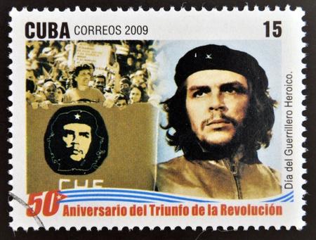guerrilla: CUBA - CIRCA 2009: A stamp printed in cuba dedicated to 50 anniversary of the triumph of the revolution, shows Day of the Heroic Guerrilla, Che Guevara, circa 2009