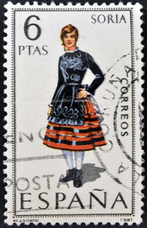 SPAIN - CIRCA 1970: A stamp printed in Spain dedicated to Provincial Costumes shows a woman from Soria, circa 1970 Stock Photo - 20009947