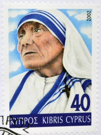 CYPRUS - CIRCA 2002: A stamp printed in Cyprus shows Mother Teresa of Calcutta, circa 2002