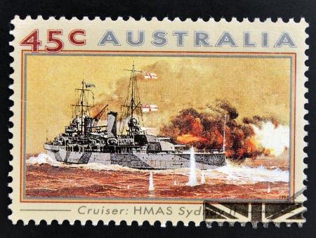 AUSTRALIA - CIRCA 1993: A stamp printed in Australia shows Second World War Naval Vessels. H.M.A.S Sydney II (Cruiser), circa 1993