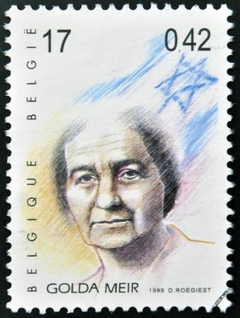 BELGIQUE - CIRCA 1999: Un timbre imprimé en Belgique montrant une image de Golda Meir, circa 1999. Banque d'images - 20398522