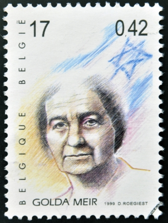 BELGIUM - CIRCA 1999: A stamp printed in Belgium showing an image of Golda Meir, circa 1999.  Stock Photo - 20398522