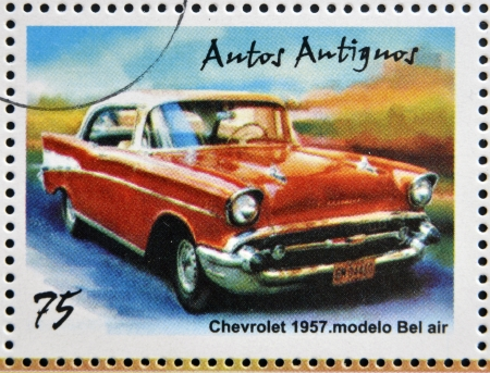 bel air: CUBA - CIRCA 2002: stamp printed in Cuba dedicated to retro car, shows Chevrolet 1951, Bel air model, circa 2002