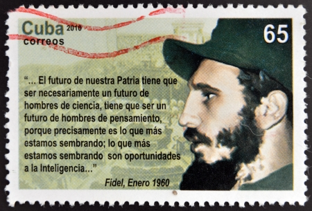 CUBA - CIRCA 2010: a postage stamp printed in Cuba showing an image of Fidel Castro, circa 2010.