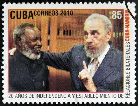 castro: CUBA - CIRCA 2010: A stamp printed in Cuba shows Fidel Castro and Sam Nujoma, leader of the independence of Namibia, circa 2010 Editorial