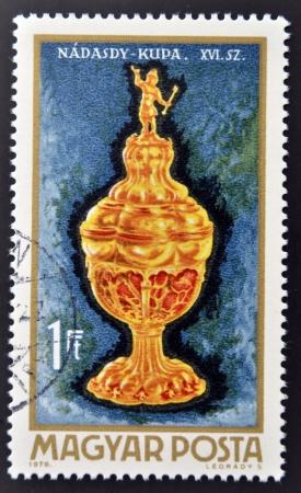 magyar: HUNGARY - CIRCA 1970: A stamp printed in Hungary shows Nadasdy goblet, circa 1970