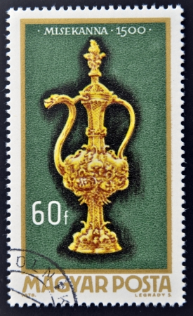 altar: HUNGARY - CIRCA 1970: A stamp printed in Hungary shows Altar burette, 1500, circa 1970  Stock Photo