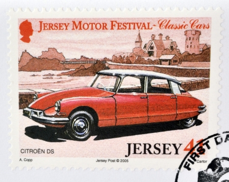 JERSEY - CIRCA 2005: Stamp printed in Jersey dedicated to classic cars, shows Citroen DS, circa 2005