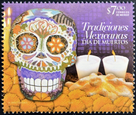 dedicated: MEXICO - CIRCA 2012: A stamp printed in Mexico dedicated to Mexican traditions, showing Day of the Dead, circa 2012