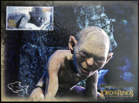 NEW ZEALAND - CIRCA 2003: A stamp printed in New Zealand dedicated to The Lord of the Rings shows Gollum, circa 2003