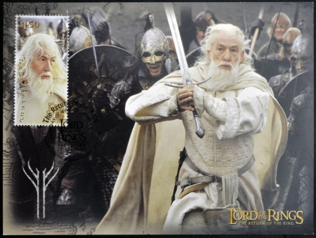 NEW ZEALAND - CIRCA 2003: stamp printed in New Zealand, shows Gandalf the White from The Lord of the Rings, circa 2003 Editorial