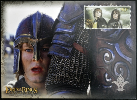 NEW ZEALAND - CIRCA 2003: A stamp printed in New Zealand dedicated to The Lord of the Rings shows Merry and Pippin, circa 2003