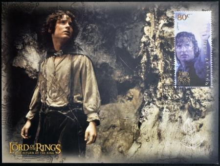 NOUVELLE-ZÉLANDE - CIRCA 2003: Un timbre imprimé en Nouvelle-Zélande consacré au Seigneur des Anneaux Frodon montre, vers 2003 Banque d'images - 20398587