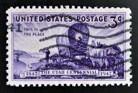 horse traction: UNITED STATES OF AMERICA - CIRCA 1947  stamp printed in USA shows the Pioneers entering the Valley of Great Salt Lake, devoted to Utah Settlement Centenary, circa 1947