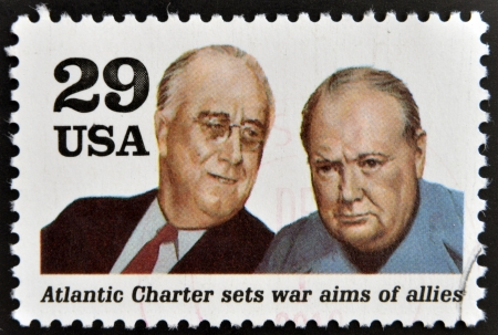 allies: UNITED STATES OF AMERICA - CIRCA 1995  a stamp printed in USA shows president Franklin D  Roosevelt and sir Winston Churchill in the Second World War, circa 1995
