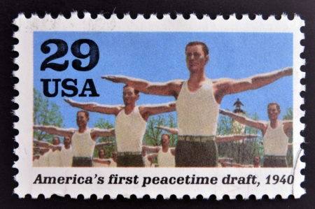 allies: UNITED STATES OF AMERICA - CIRCA 1995  stamp printed in USA dedicated to the Second World War, shows America´s first peacetime draft, circa 1995   Editorial
