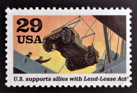 allies: UNITED STATES OF AMERICA - CIRCA 1995  stamp printed in USA dedicated to the Second World War, shows U S  supports allies with lend-lease act, circa 1995