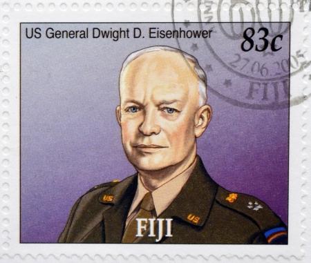 eisenhower: FIJI - CIRCA 2005  A stamp printed in Fiji shows US General Dwight D  Eisenhower, circa 2005 Editorial