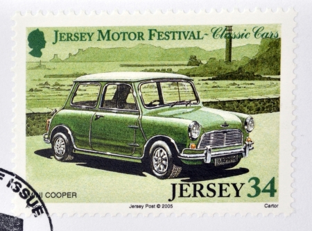 cooper: JERSEY - CIRCA 2005  Stamp printed in Jersey dedicated to classic cars, shows Mini Cooper, circa 2005