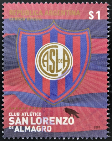 almagro: ARGENTINA - CIRCA 2007: A stamp printed in Argentina shows athletic club crest San Lorenzo de Almagro, circa 2007