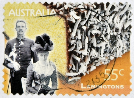 lamington: AUSTRALA - CIRCA 2009: A stamp printed in australia shows Lord and Lady Lamington and a lamington, circa 2009  Editorial