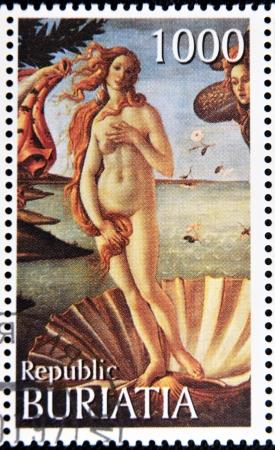 venus: BURYATIA - CIRCA 1990: A stamp printed in Buryatia shows picture of Sandro Botticelli The birth of Venus, circa 1990 Editorial