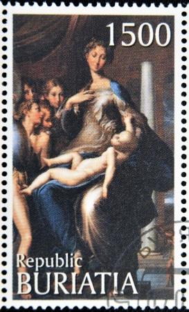 mannerism: BURYATIA - CIRCA 1990: A stamp printed in Buryatia shows picture of Parmigianino Madonna with the Long Neck , circa 1990