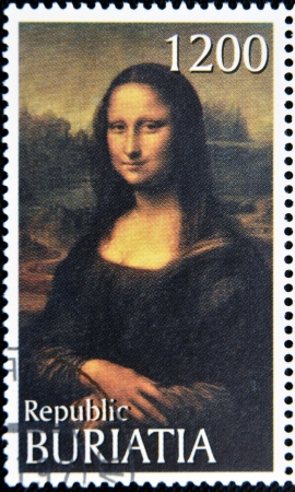 mona lisa: BURYATIA - CIRCA 1990: A stamp printed in Buryatia shows picture of Leonardo Da Vinvi Mona Lisa or La Gioconda, circa 1990 Editorial