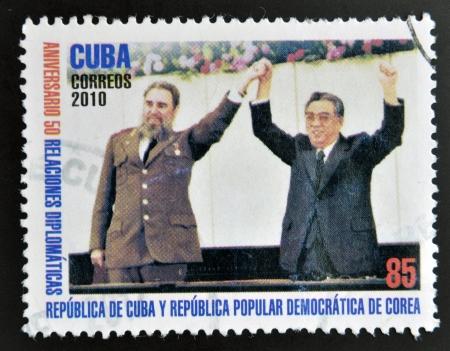 castro: CUBA - CIRCA 2010: A stamp printed in cuba shows Fidel Castro and Kim Jong-Il, circa 2010 Editorial