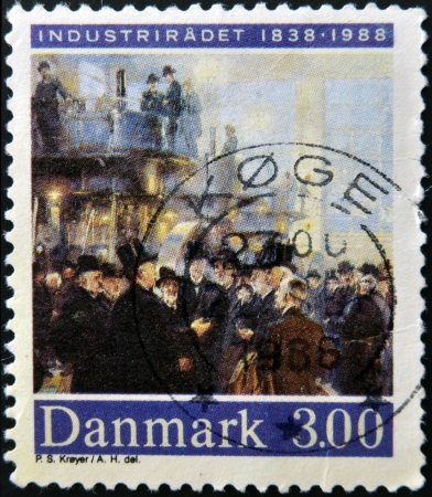 industrialization: DENMARK - CIRCA 1988: A stamp printed in Denmark dedicated to industrialization, shows a meeting of wealthy capitalists, circa 1988