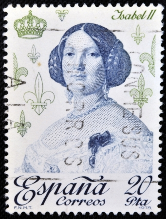queen isabella: SPAIN - CIRCA 1978: A stamp printed in Spain shows Isabella II of Spain, circa 1978
