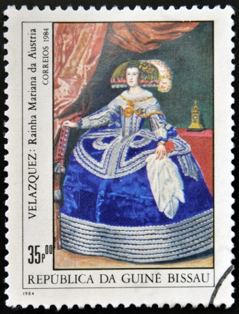 velazquez: GUINEA - CIRCA 1984: A stamp printed in Republic of Guinea Bissau shows draw by artist Velazquez - Portrait of the Infanta Maria Theresa of Spain, Philip IVs daughter, circa 1984