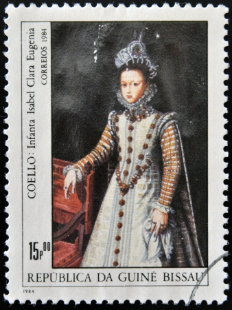 isabel: GUINEA - CIRCA 1984: A stamp printed in Republic of Guinea Bissau shows draw by artist Coello - Infanta Isabel Clara Eugenia, circa 1984