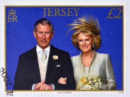 prince charles of england: JERSEY - CIRCA 2006: A stamp printed in Jersey commemorating wedding the Prince of Wales and Camilla Parker Bowles, circa 2006.