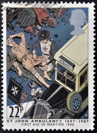 UNITED KINGDOM - CIRCA 1987: a stamp printed in the Great Britain shows St. John Ambulance, centenary, circa 1987