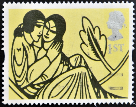 poems: UNITED KINGDOM - CIRCA 1995: A stamp printed in Great Britain shows Decoration from All the Love Poems of Shakespeare, circa 1995