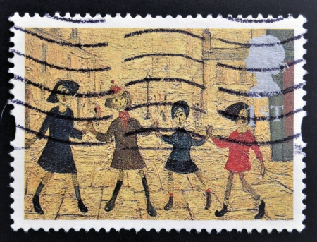 lowry: UNITED KINGDOM - CIRCA 1995: A stamp printed in Great Britain shows Children Playing by L.S. Lowry, circa 1995