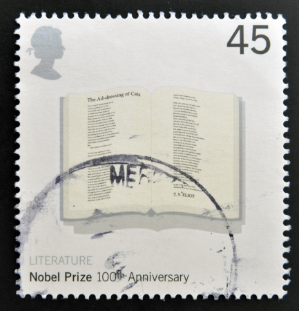 UNITED KINGDOM - CIRCA 2001: a stamp printed in Great Britain shows Poem 'The Adressing of Cats' by T.S.Eliot in Open Book commemorates the 100th anniversary of the Nobel Prize for Physics, circa 2001  Stock Photo - 20399647