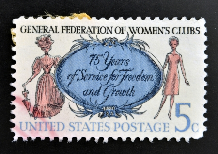 outmoded: UNITED STATES OF AMERICA - CIRCA 1966: A stamp printed in USA shows Women of 1890 and 1966, General Federation of Womens Clubs, circa 1966