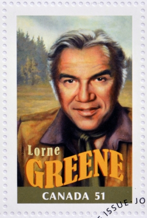 silent film: CANADA - CIRCA 2006: A stamp printed in Canada dedicated to  Canadian actors who have succeeded in Hollywood shows Lorne Greene, circa 2006  Editorial