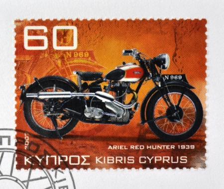 CYPRUS - CIRCA 2007: A stamp printed in Cyprus shows a motorbike, Ariel red Hunter 1939, circa 2007