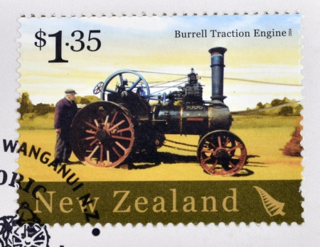 traction engine: NEW ZEALAND - CIRCA 2004: A stamp printed in New Zealand dedicated to historic farm equipment, shows Burrell Traction Engine, circa 2004