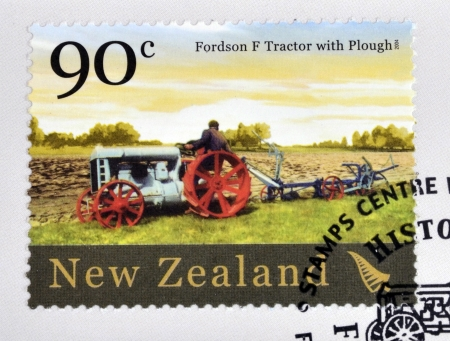 NEW ZEALAND - CIRCA 2004  A stamp printed in New Zealand dedicated to historic farm equipment, shows Fordson F tractor with Plough, circa 2004
