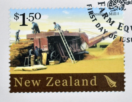 NEW ZEALAND - CIRCA 2004  A stamp printed in New Zealand dedicated to historic farm equipment, shows Threshing Mill, circa 2004
