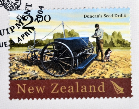 NEW ZEALAND - CIRCA 2004  A stamp printed in New Zealand dedicated to historic farm equipment, shows Duncana�s Seed Drill, circa 2004