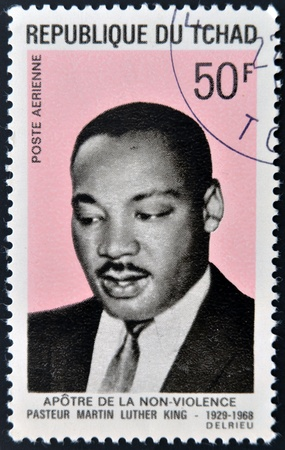 marchers: CHAD - CIRCA 1969  A stamp printed in cuba shows Martin Luther King, circa 1969  Editorial