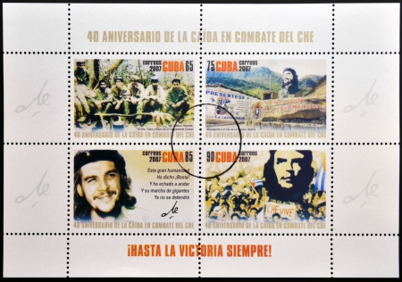 onward: CUBA - CIRCA 2007 sellos impresos en Cuba dedicado al 40 aniversario de la ca�da en combate del Che, Hasta la victoria siempre, alrededor del a�o 2007 Editorial